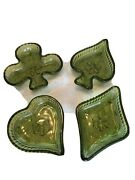 Bohemia Czech Art Glass Playing Card Suit Trinket Dishes 4 Pc Set Green Antique