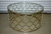Ethan Allen Tracery Coffee Table Round Metal Beveled Glass Silver/bisque12-8170