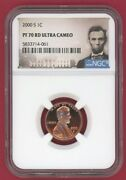 2000-s Ngc Pf 70 Rd Ultra Cameo Proof Lincoln Penny 1c -061