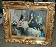 Lovely Antique Americana Reclining Lady In Pose Brilliant Colors