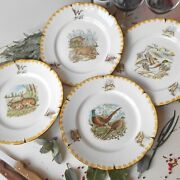 Set Of Four, Limoges Porcelain, Game Plates. Wild Boar, Hare, Pheasant And Duck