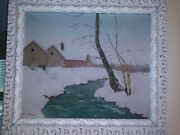Antique Farm Winter In Wood Frame. 25x30 Original Painting Oliver Albertson