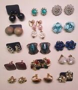 Lots Of 16 Pairs Of Vintage Earrings Clip On Screwbacks Antique High End Costume