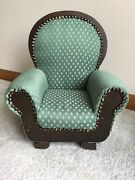 Victorian Doll Chair Green Upholstered Doll Furniture Fits American Girl Dolls