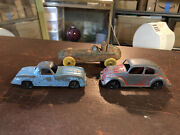 Three Antique Toy Cars..1930s Auburn Rubber And Tootsie Volkswagon And Mercedes