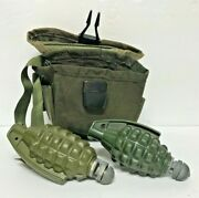 Vintage Military Surplus Army Grenade Pouch W 2 Bang Toy Grenades Free Shipping