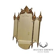 1930and039s Art Deco Silver Gilt Etched Wall Mirror Carved Griffons