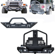 Vijay Front Rear Bumper With Oil Drum Rack Bar+d-ring Fit 97-06 Jeep Wrangler Tj