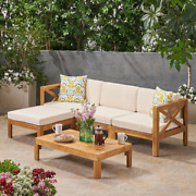 Corner Sectional Sofa Table Set W/ Cushions 5 Pc Outdoor Patio Wooden Furniture