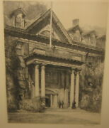 Rare Louis Orr 'massachusetts Hall' Dartmouth College New Hampshire Etching