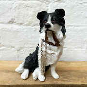 Sitting Border Collie Dog Lead Walkies Ornament Figurine Statue Resin Home Gift