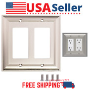 [2pack] Nickel Wall Light Switch Plate Outlet Cover Rocker Double Gang Wallplate