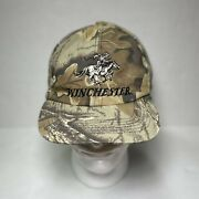 Vtg Winchester Hunting Hat Camo Ear Flaps Fleece Horse And Rider Cap Rare