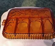 Indiana Glass Marigold Carnival Glass Divided Relish Serving Tray Dish Vintage