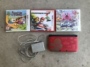 Nintendo 3ds Xl Console Super Mario Bros 2 Gold Limited Edition W/3 Games