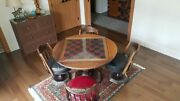 Vintage Chess Table 4 Ornate Leather Chairs Checkers Gaming Card Playing So Cal