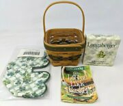 Vtg 1999 Longaberger Lots Of Luck Green Woven Basket Protector Liner Tie On Ss21