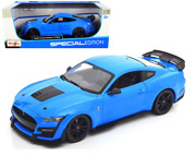 2020 Ford Mustang Gt500 Blue 1/18 Scale Diecast Car Model By Maisto 31452