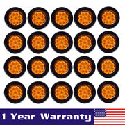 20x Round 2 Flower Shape Amber 9 Diodes Clearance Marker Accent Light Grommet