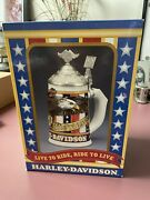 """Harley Davidson 1998 """"live To Ride, Ride To Live"""" Beer Stein New In Bix"""