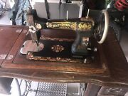 White Rotary Treadle Sewing Machine Craftsman Cabinet 1913 Antique
