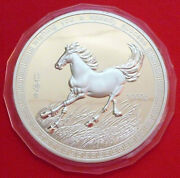 Luckly Chinese 2021 Lunar Year Of The Horse Colored Silver Coin----100mm
