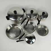 11 Pcs Vintage Revere Ware 1801 Copper Bottom Stainless Steel 2 Double Circle