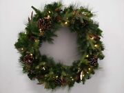 Christmas Wreath Pre-lit Led Lights 32 Battery Operated- Plastic/paper Open Box