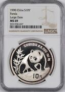 1990 China 1-ounce Silver Panda Large Date S10y - Ngc Ms69 -