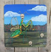 Tin Retablo Day Of The Dead Painting Praying Mantis Hand Painted Mexico Folk Art