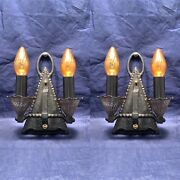 Antique Gothic Arts And Crafts Mission Mid Evil Two Arm Sconces Rare 49a
