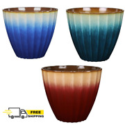 Blue Red Teal Ombre Resin Flower Pot Round Planter Indoor Outdoor