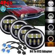 4x 5.75in Led Projector Headlight Angle Eyes Drl Fit For Corvettes Impala Chevy