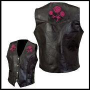 Vest Leather Sleeveless Woman Roses Embroidered - S M L Xl Xxl - Biker/country