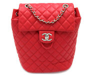 Lambskin Quilted Small Urban Spirit Red Backpack W/card