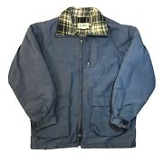Vintage Ll Bean Wool Blend Lined Chore Coat Jacket Parka L Made In Usa Blue