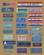 Lot Of 28 Different Used Via Air Mail Stickers