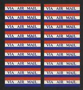 Lot Of Via Air Mail Stickers 2 Strips Of 9 Each Still Connected