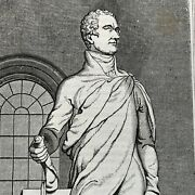 1835 Newspaper Front Page Engraving Of Alexander Hamilton Ball Hughes Statue Nyc