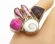 925 Silver - Vintage Shiva Shell And Multi-stone Cocktail Ring Sz 8 - Rg5763