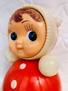 Huge Soviet Vintage Russian Nevalyashka Celluloid Plastic Roly Poly Toy Doll 41