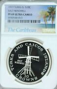 1977 Turks And Caicos Silver 10 Crowns Salt Windmill Ngc Pf 69 Ultra Cameo Top