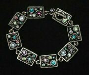 Patricia Locke 7 5 Bracelet Silver Plate Water Lily Crystals Nwot
