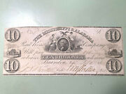 1838 10 For The Mississippi And Alabama Railroad Company 10 Banknote