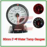 2.5 60mm White Face Gauge Advanced Water Temp Gauge Amber Red/ White Lights