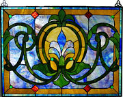 Stained Glass Pane With Decorative Hanging Brackets
