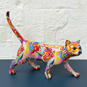 New Bright Colourful Glossy Groovy Walking Kitten Standing Cat Ornament Gift Art