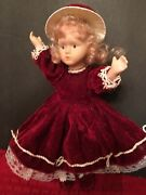 Small Antique Vintage Porcelain Dolls Bisque Limbs Move, Red Dress And Hat