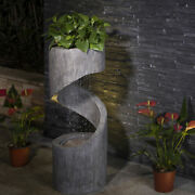 Glitzhome Curving Shaped Outdoor Floor Water Fountain With Led Lights For Garden