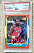 Moses Malone 1986 69 Fleer Rookie Card Psa/dna Autographed Autograph Hof